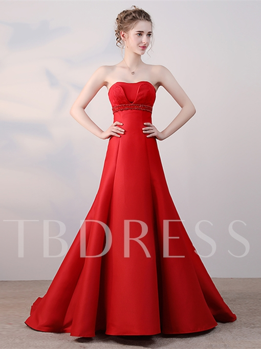 A-Line Beading Lace Sleeveless Strapless Court Train Evening Dress