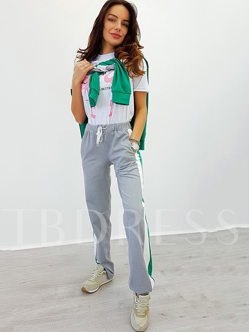 Long Sleeve Color Block Women's Pants Suit