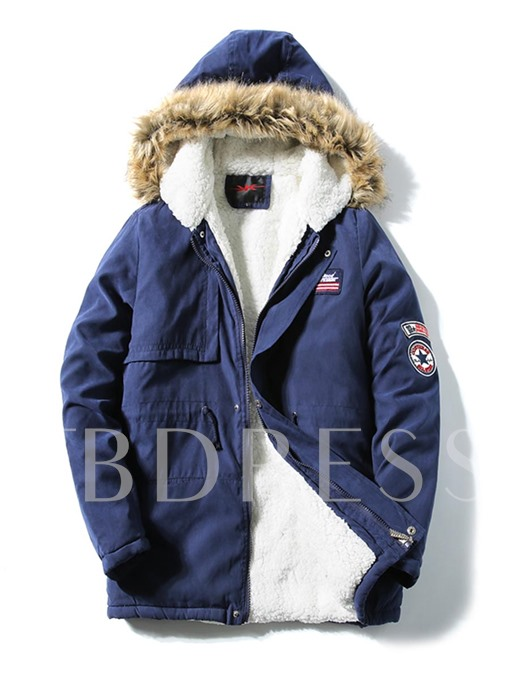 Korean Style Hooded Badge Decorated Men's Winter Coat