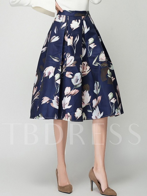 Mid-Calf Expansion Floral Print Women's Skirt