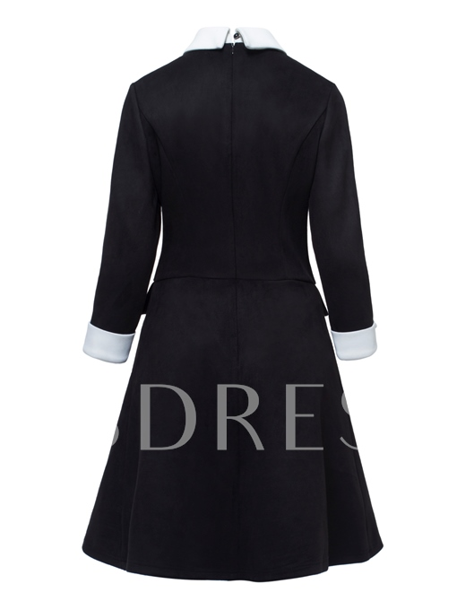 Lapel Black Back Zipper Women's Long Sleeve Dress