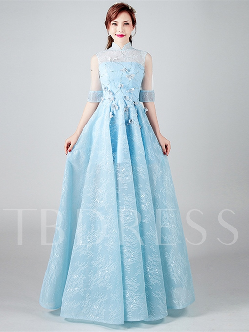 A-Line High Neck Lace Appliques Beading Half Sleeves Floor-Length Evening Dress