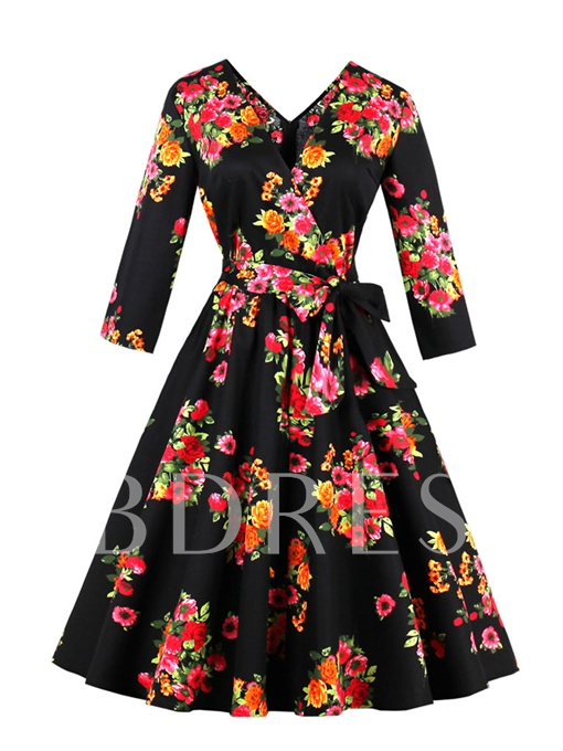 Black Floral Lace up Women's Day Dress