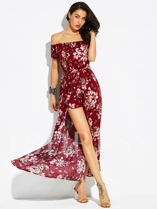 Loose Flower Print Vacation Women's Jumpsuits