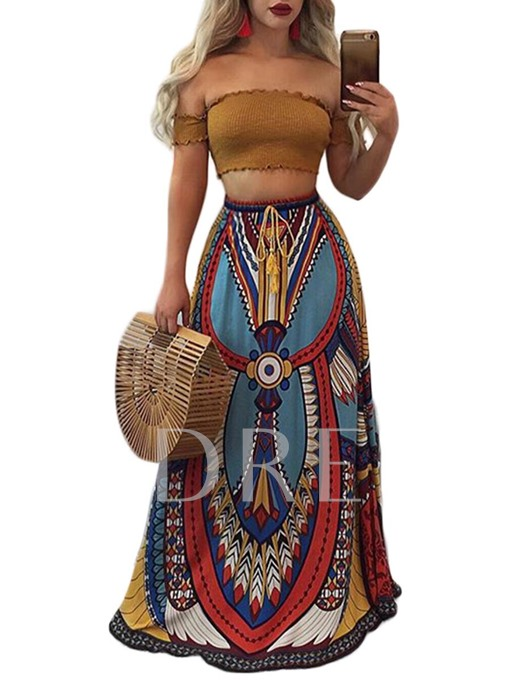 Retro Geometric Printing High Waist Women's Skirt