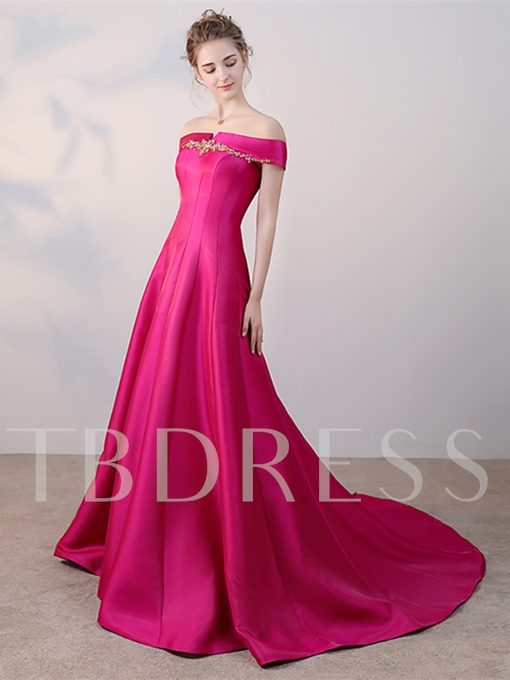 A-Line Off-the-Shoulder Beading Button Crystal Court Train Evening Dress
