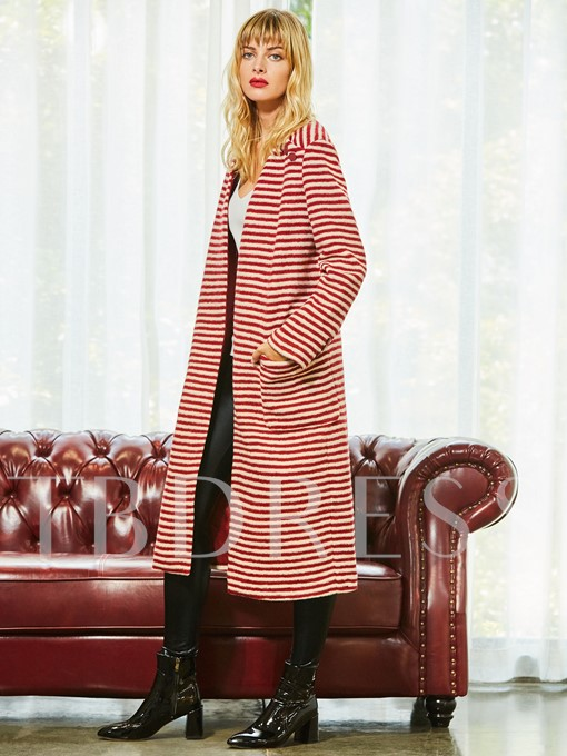 Stripe Wrap Long Pockets Women's Sweater Coat