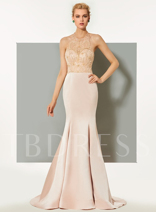 Trumpet Beaded Halter Sweep Train Evening Dress