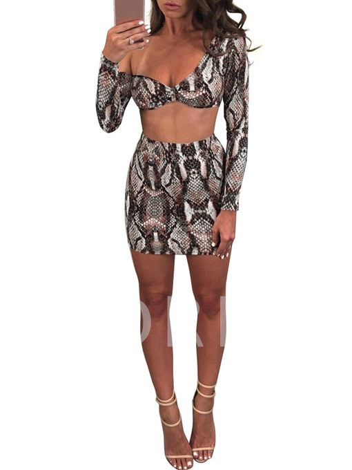 Snakeskin Pattern Long Sleeves Women's Skirt Suit