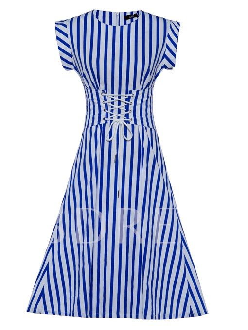 Round Neck Stripe Mid-Calf Women's A-Line Dress