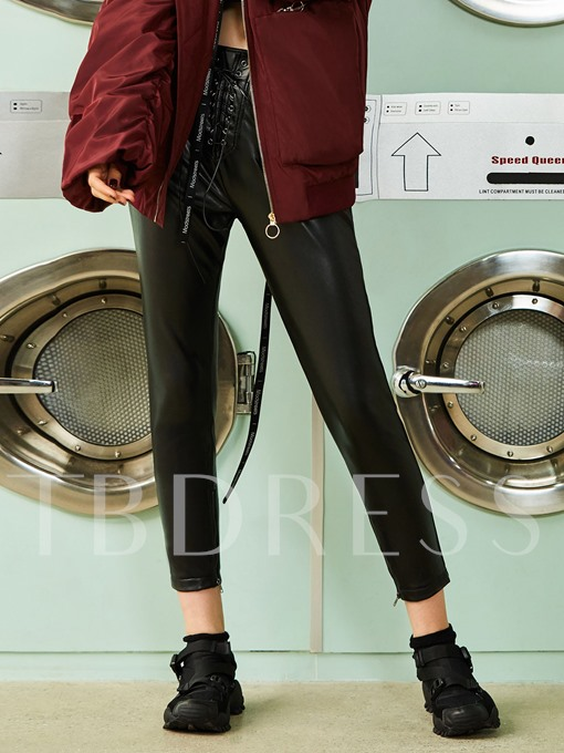 PU Lace-Up Skinny Pocket Patchwork Women's Pants
