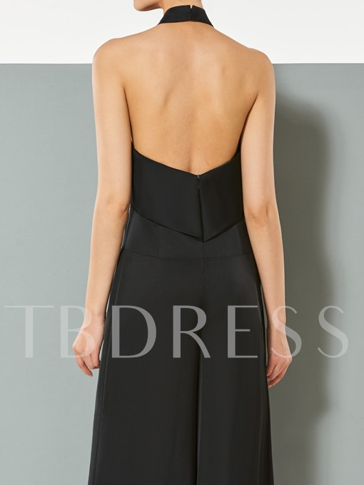 A-Line Halter Backless Evening Jumpsuits
