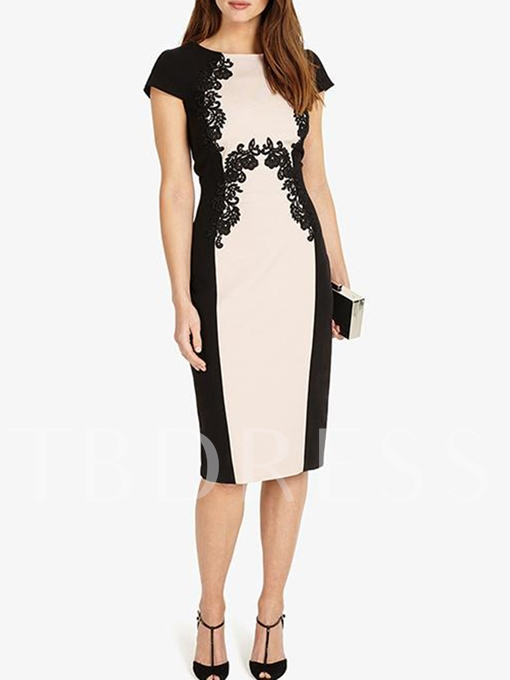 Cap Sleeve Appliques Women's Sheath Dress