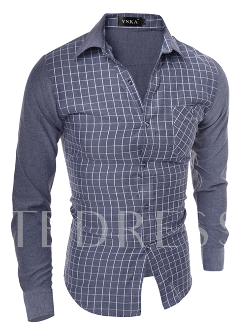 Lapel Fine Plaid Patchwork Plaid Slim Fit Men's Shirt