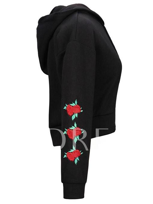 Flower Embroidery Pullover Women's Hoodie