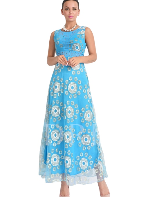 Tiered Lace up Printing Women's Maxi Dress