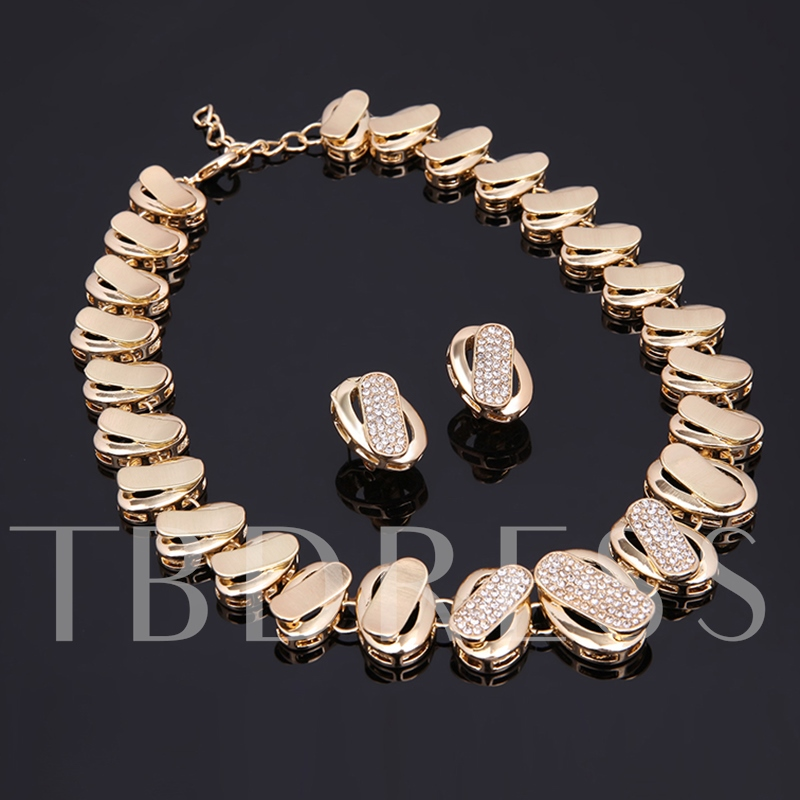 Shiny Alloy Diamante Link Chain Geometric Four Piece Jewelry Sets