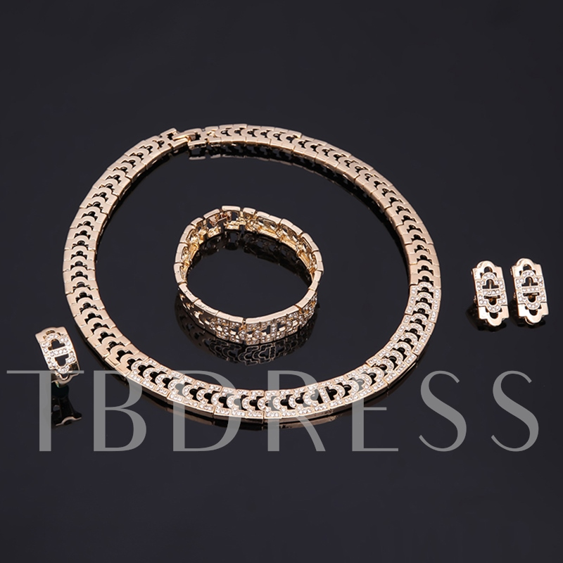 Simple Alloy Box Chain Four Piece Jewelry Sets