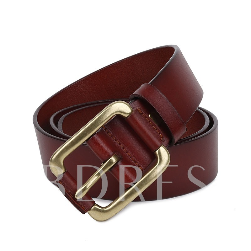 Copper Embossed Artificial Leather Pin Buckle Men's Belts