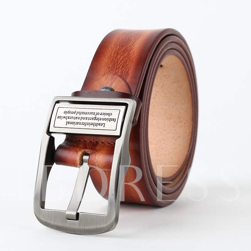 Lettering Pin Buckle Upper Cowhide Fashion Men's Belts