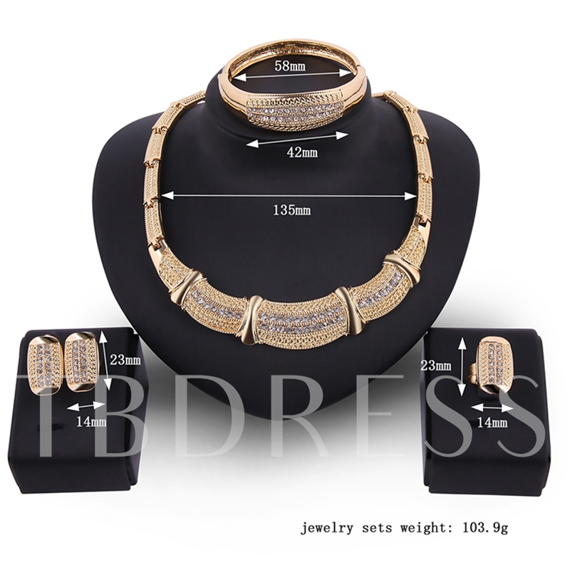 Wide Bamboo Chain Diamante Alloy Jewelry Sets