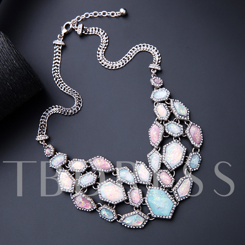 Colorful Irregular Stone Horsewhip Chain Necklace