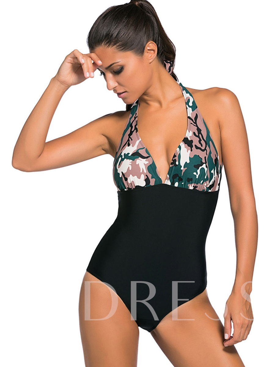 Fashion Camouflage Patchwork Pleated One Piece Swimsuit