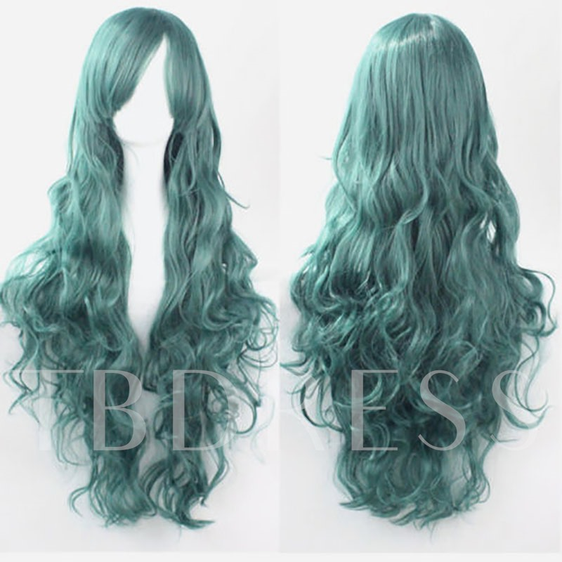 Gray Blue Long Straight Wavy Synthetic Hair Capless 32 Inches (Average)