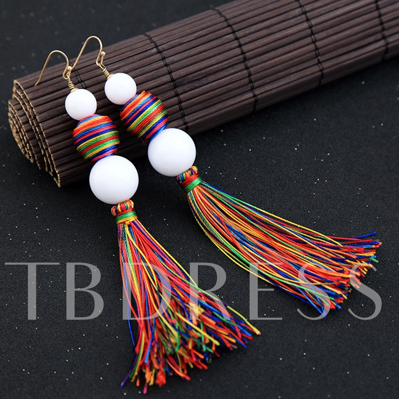 Colorful Fuzzy Ball Alloy Synthetic Stones Tassel Earrings