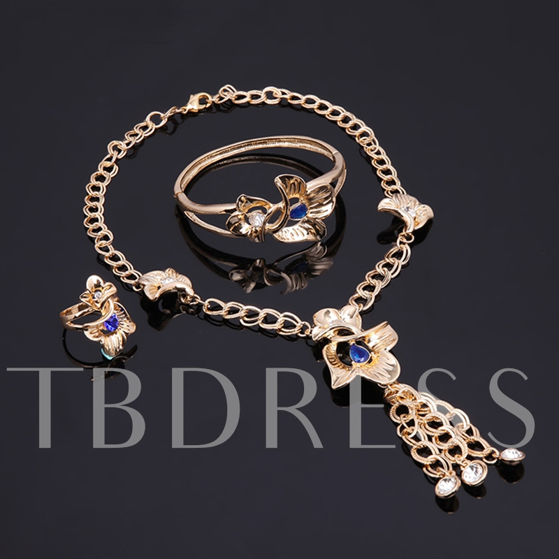 Hollow Out Flower Link Chain Rhinestone Jewelry Sets