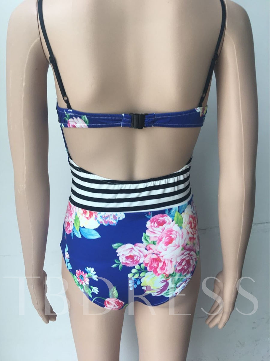 Stripe Flower Print Backless One Piece Swimsuit