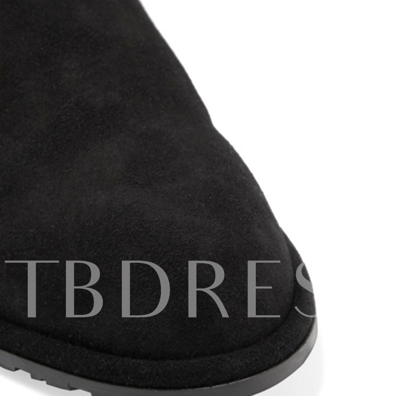 Pointed Toe Plain Slip-On Women's Flats Shoes Black Boots