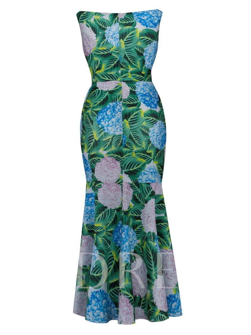 Plus Size Green Flowers Pattern Women's Maxi Dress