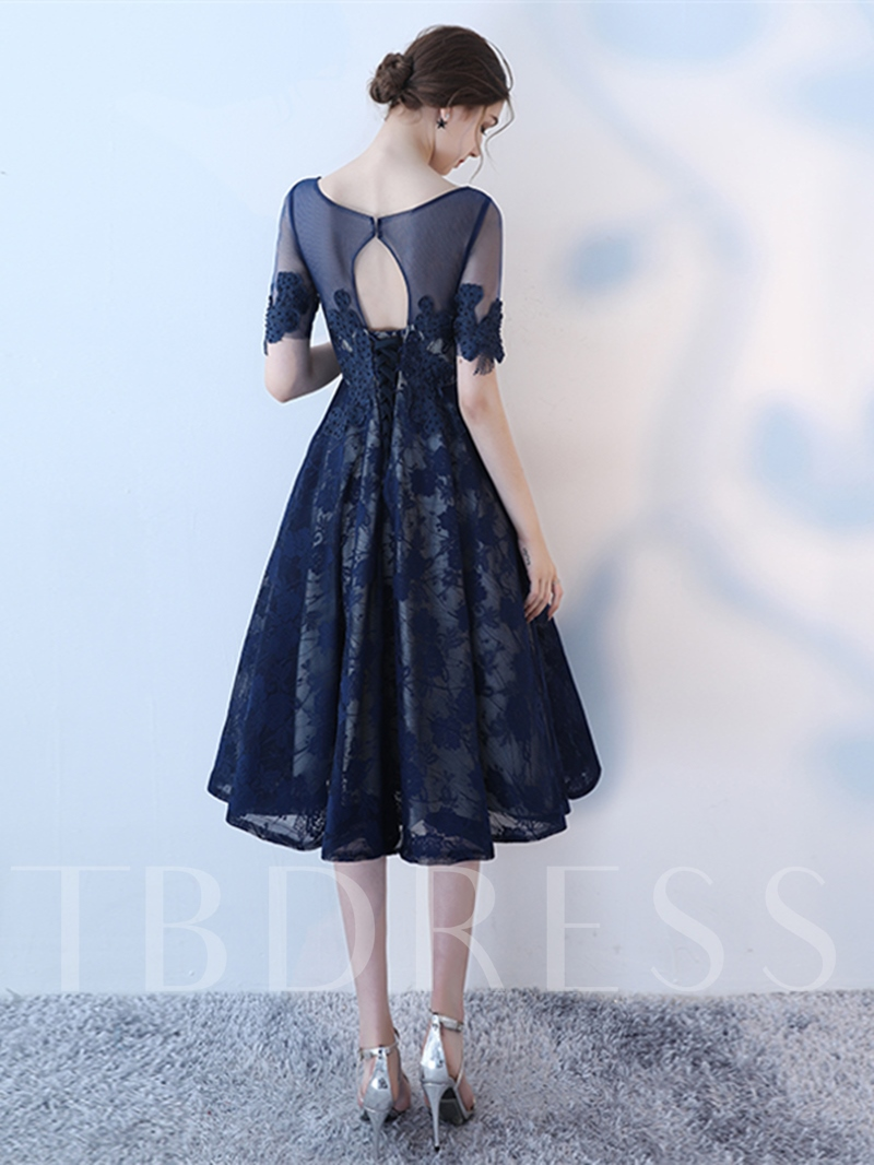 A-Line Appliques Lace Scoop Short Sleeves Homecoming Dress