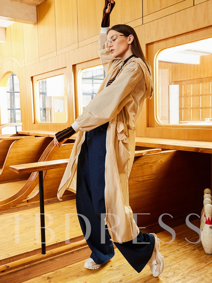 Hooded Plain Long Sleeve Zipper Women's Trench Coat