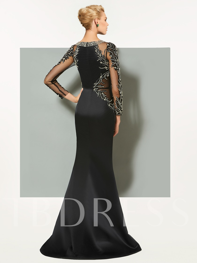 Sheath Beading Long Sleeves Evening Dress