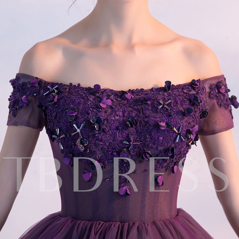 Off the Shoulder Appliques Beading Flowers Homecoming Dress