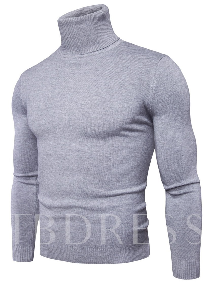 Turtleneck Plaid Thin Slim Fit Leisure Men's Sweater