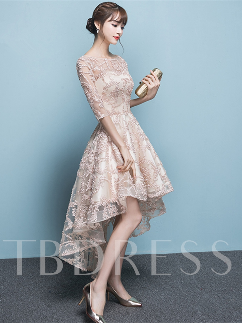 A-Line Bateau Lace Half Sleeves Asymmetry Homecoming Dress