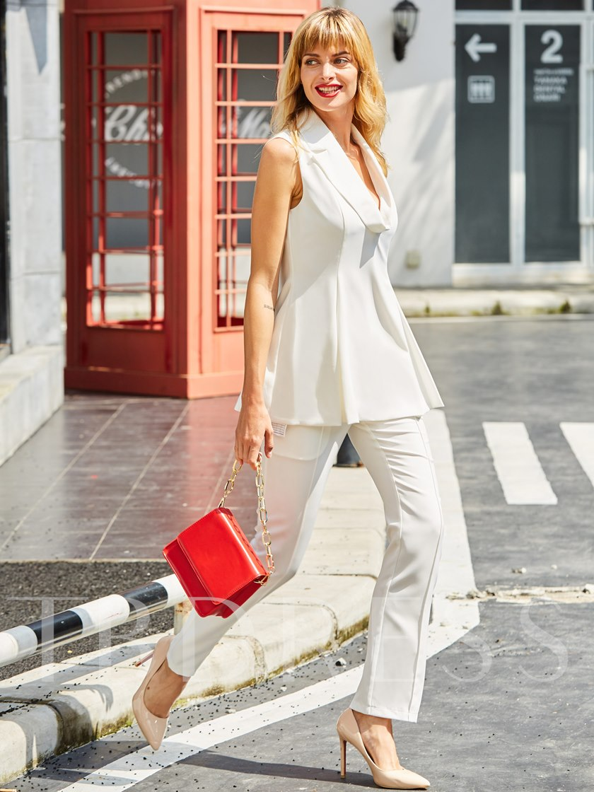 Plain Notched Lapel Sleeveless Pocket Women's Pants Suit