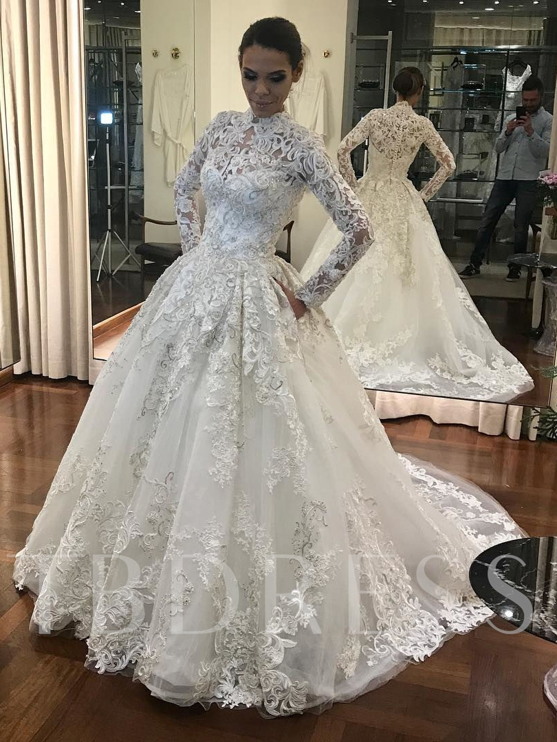 High Neck Lace Muslin Long Sleeves Wedding Dress Tbdress Com