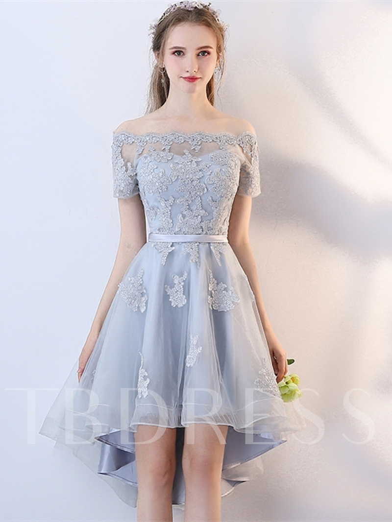2e95ab11bf Short Sleeves A-Line Off-the-Shoulder Appliques Sashes Homecoming Dress.  Sold Out