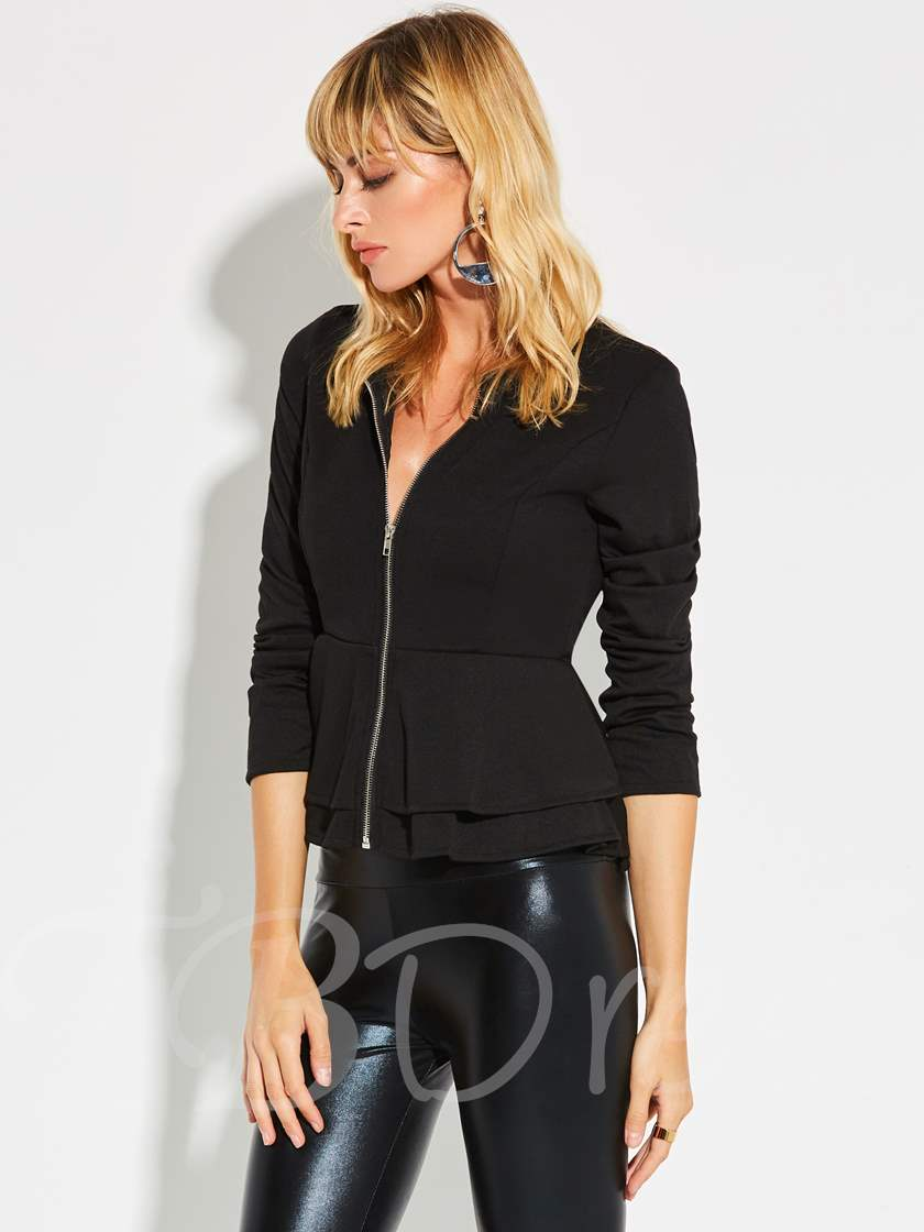 Zipper Skirt Hem Plain Women's Blazer