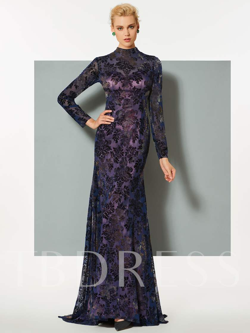 Mermaid Long Sleeves High Neck Lace Sweep Train Evening Dress Sold Out