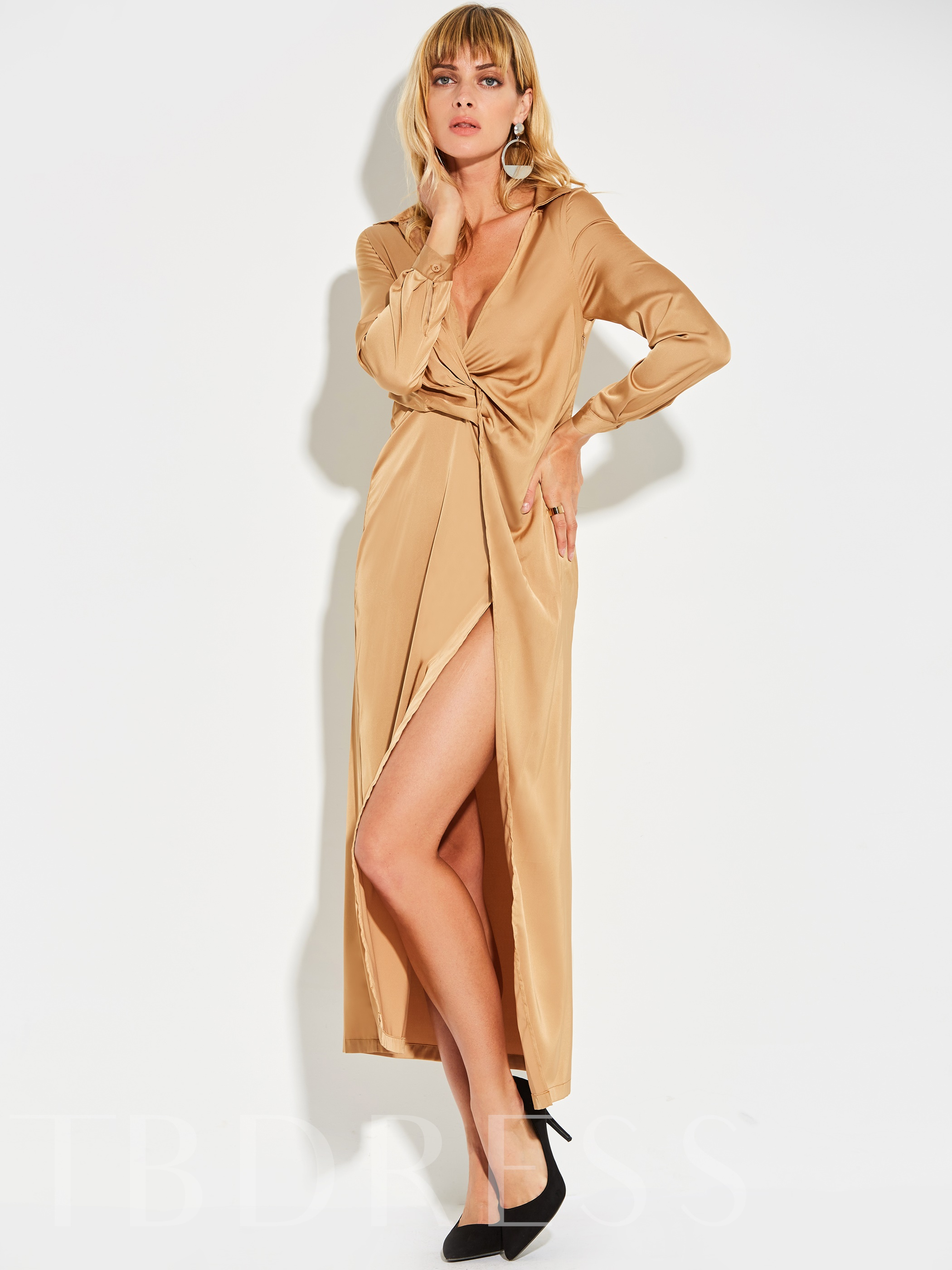 Khaki Long Sleeve Ruffled Women's Maxi Dress, 12890633