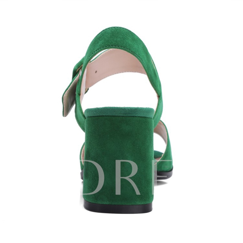 Chunky Heel Suede Ankle Strap Women's Kelly Green Sandals Shoes