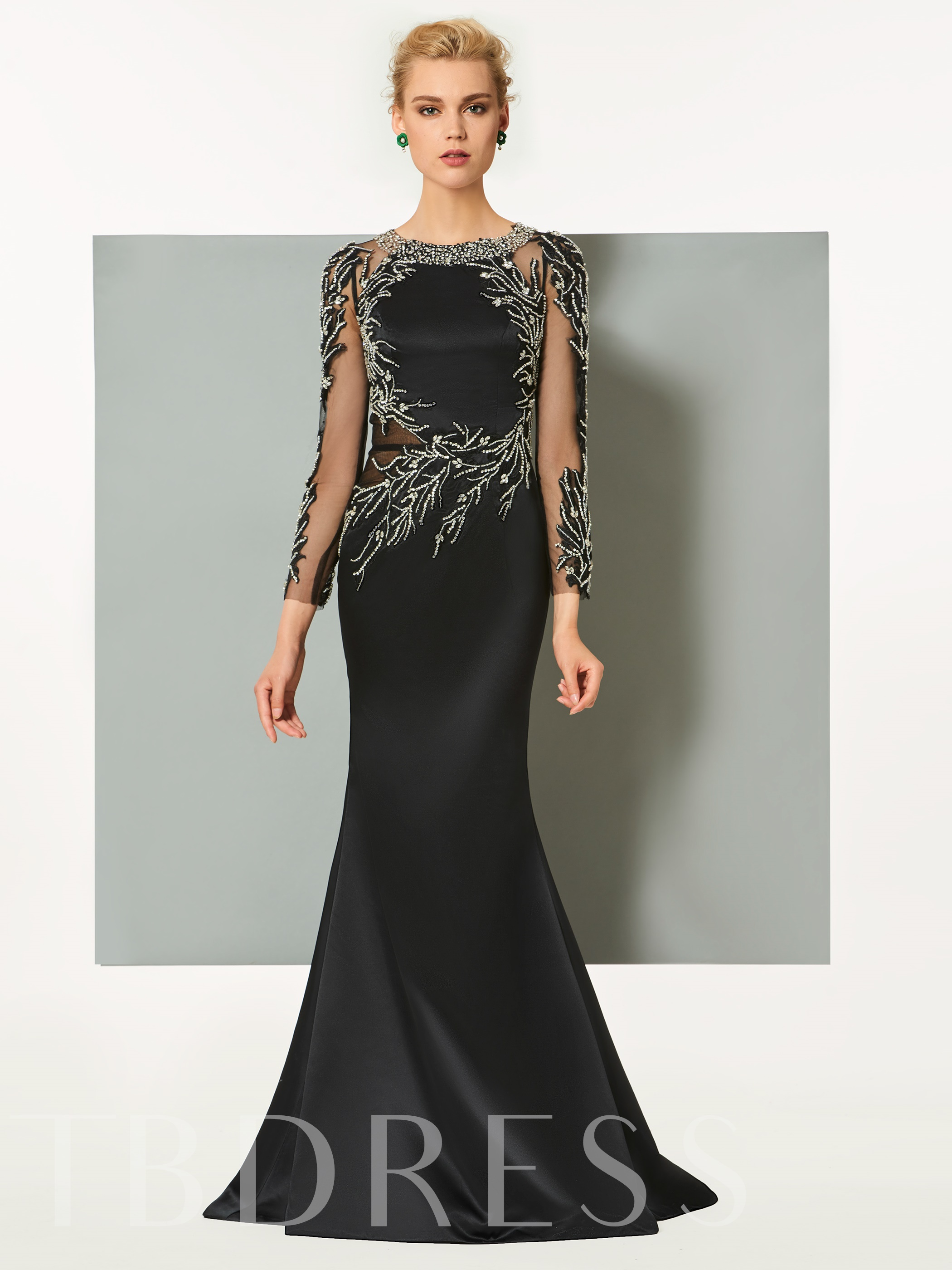 Buy Long Sleeves Sheath Beaded Scoop Sweep Train Evening Dress, Spring,Summer,Fall,Winter, 12928126 for $199.54 in TBDress store
