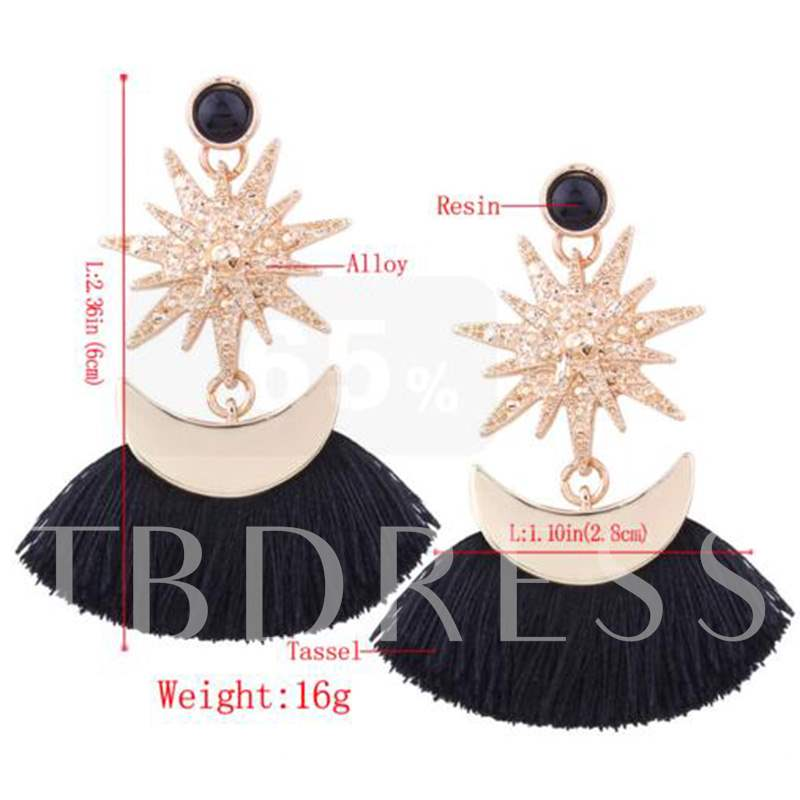 Fan Shaped Star Rhinestone Diamante Moon Alloy Earrings