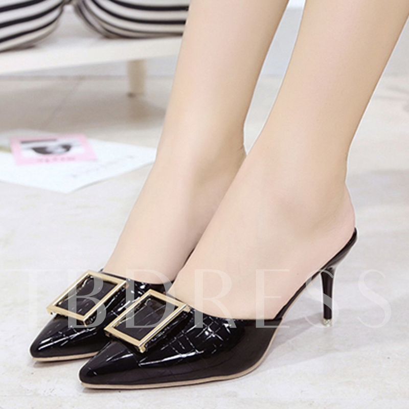 Closed Toe Patent Leather Slip-On Sequins Women's Mules Shoes