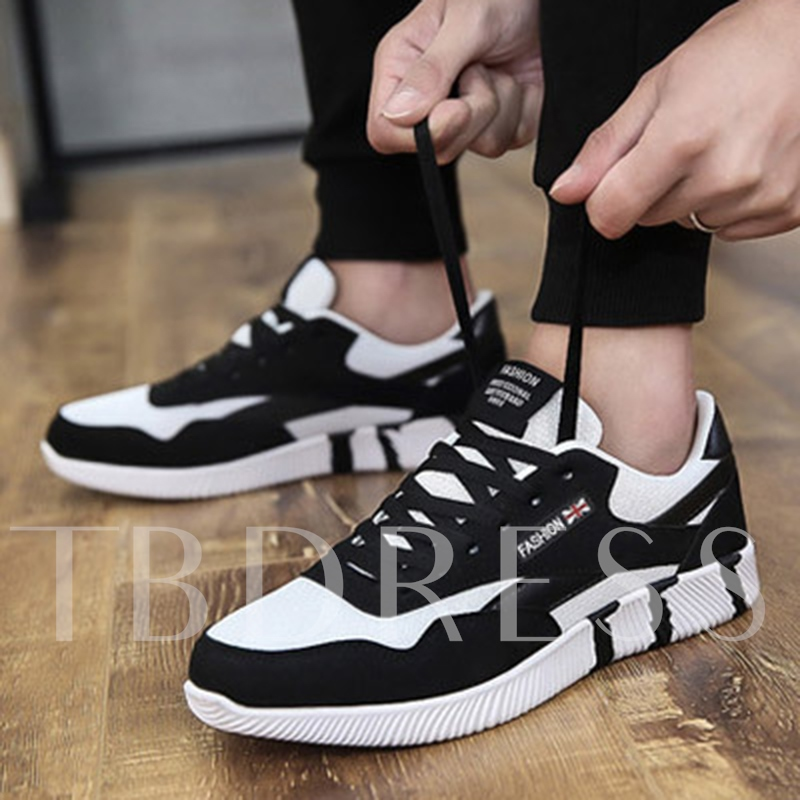 Low-Cut Upper Patchwork Lace-Up Thread Men's Sneakers